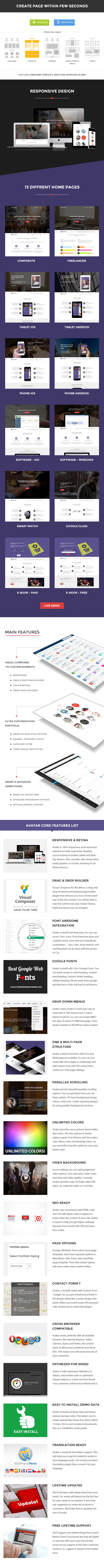Avatar - One & Multi Page Parallax WordPress Theme